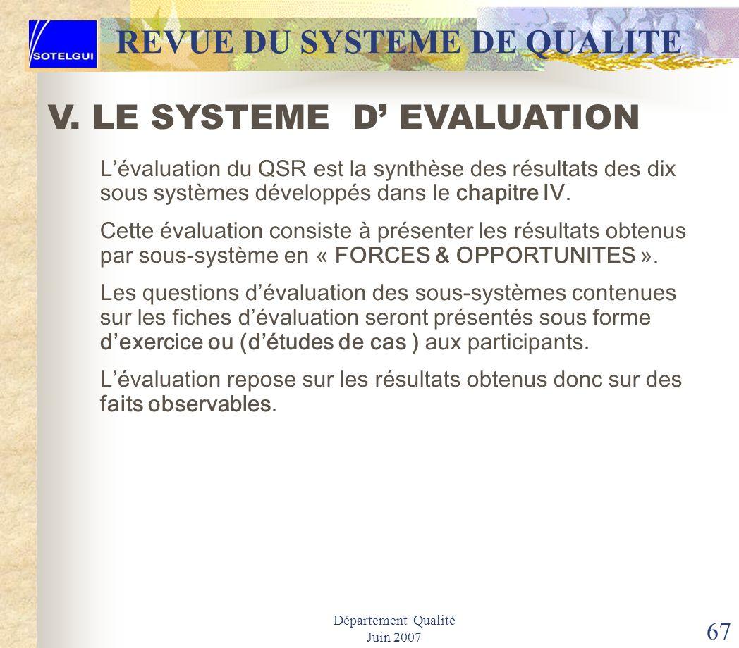 Département Qualité Juin 2007 66 REVUE DU SYSTEME DE QUALITE Suivre ou compléter obligatoirement la formation en QSR avec pour objectif la maîtrise de