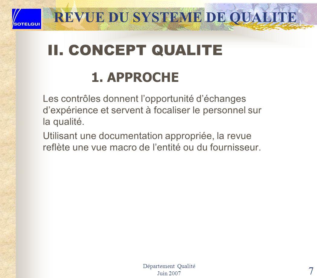Département Qualité Juin 2007 6 II. CONCEPT DU Q S R REVUE DU SYSTEME DE QUALITE La revue du système de qualité facilite une vision globale de la cond