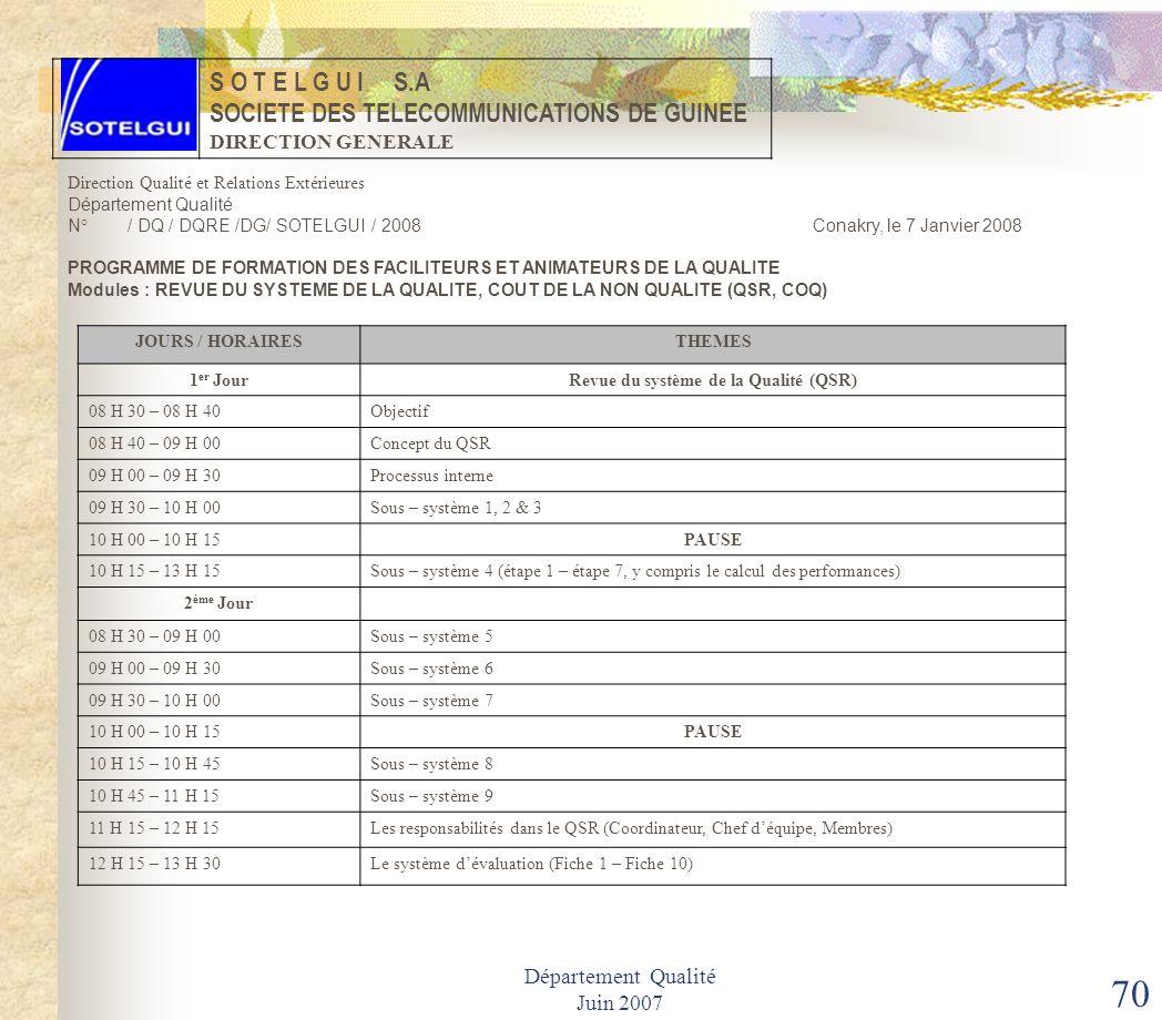 Département Qualité Juin 2007 69 REVUE DU SYSTEME QUALITE Un guide du QSR est souvent annexé au document dévaluation pour faciliter à léquipe de contr