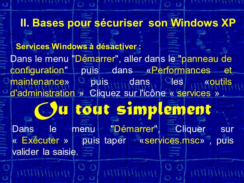 Services Windows à désactiver : Dans le menu Démarrer , aller dans le panneau de configuration puis dans «Performances et maintenance» puis dans les «outils d administration » Cliquez sur l icône « services ».