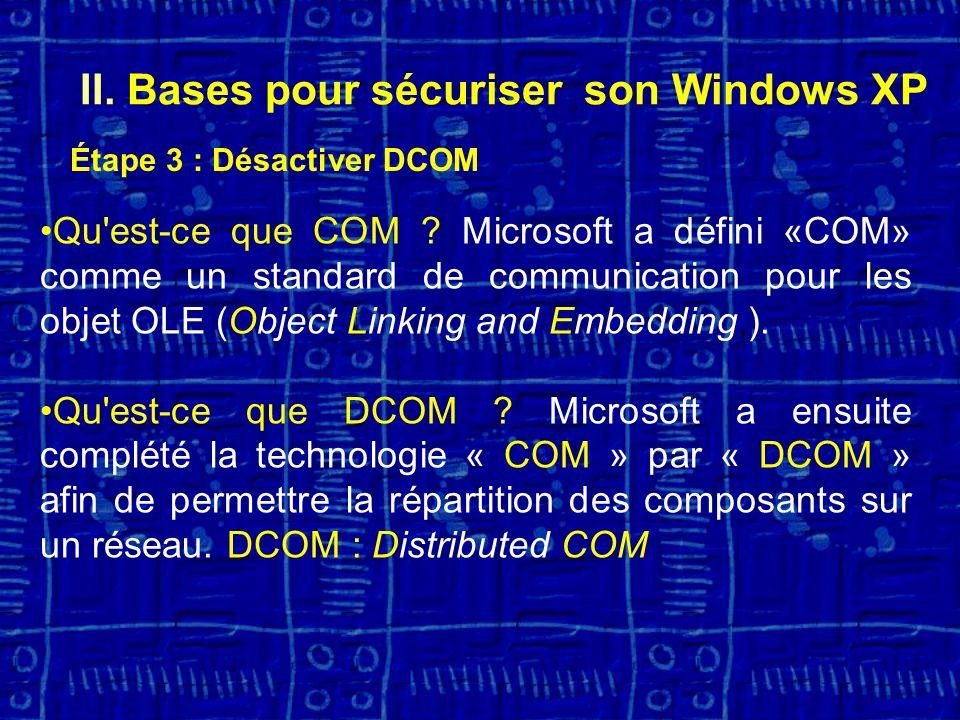 II.Bases pour sécuriser son Windows XP Étape 3 : Désactiver DCOM Qu est-ce que COM .