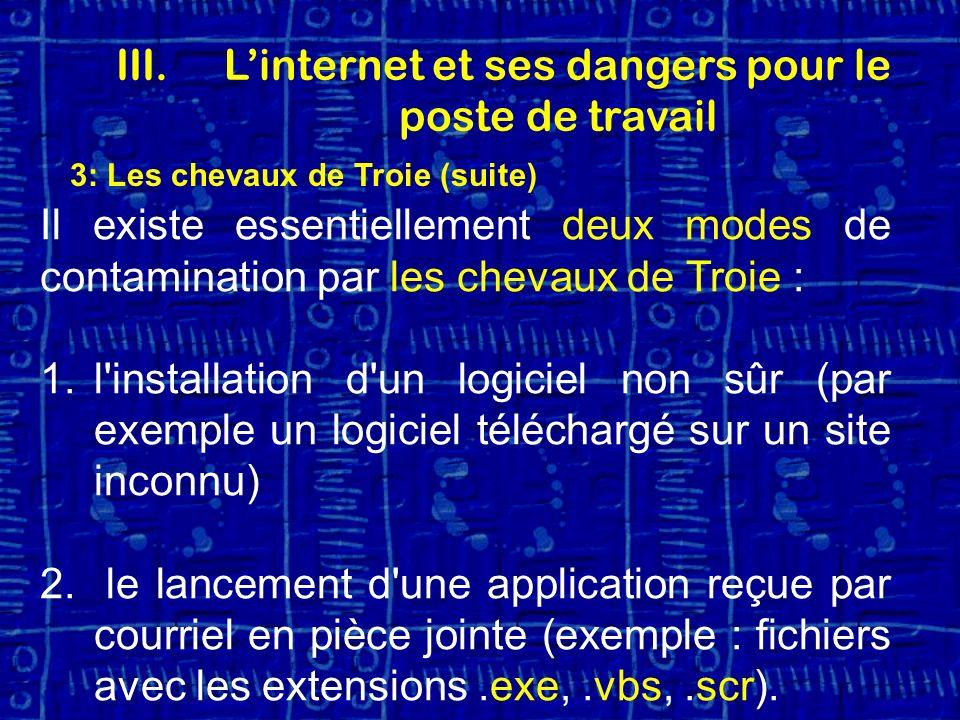 3: Les chevaux de Troie (suite) Il existe essentiellement deux modes de contamination par les chevaux de Troie : 1.l installation d un logiciel non sûr (par exemple un logiciel téléchargé sur un site inconnu) 2.