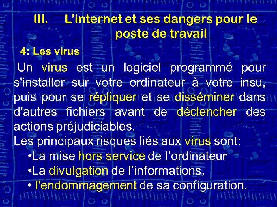 4: Les virus Un virus est un logiciel programmé pour s installer sur votre ordinateur à votre insu, puis pour se répliquer et se disséminer dans d autres fichiers avant de déclencher des actions préjudiciables.