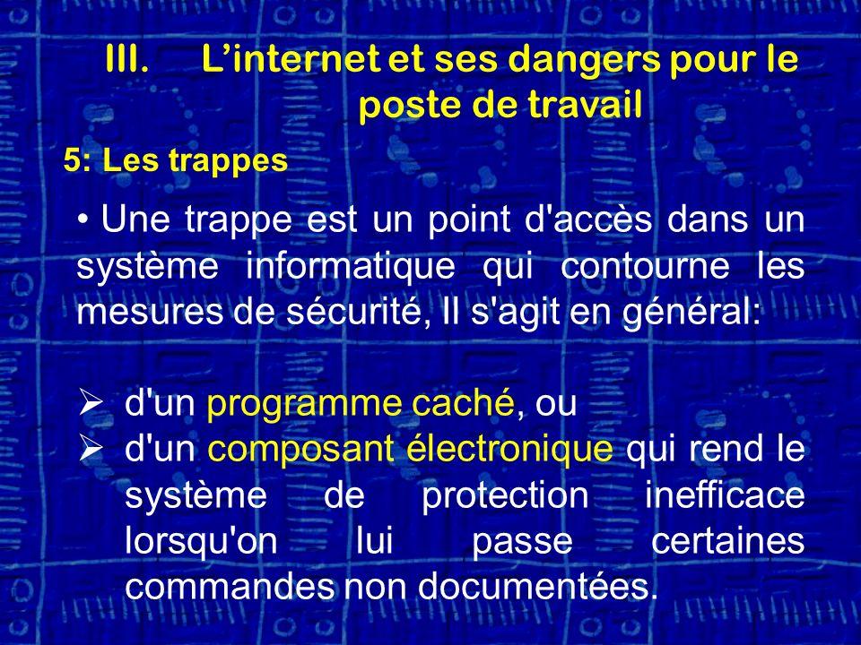 5: Les trappes Une trappe est un point d accès dans un système informatique qui contourne les mesures de sécurité, Il s agit en général: d un programme caché, ou d un composant électronique qui rend le système de protection inefficace lorsqu on lui passe certaines commandes non documentées.