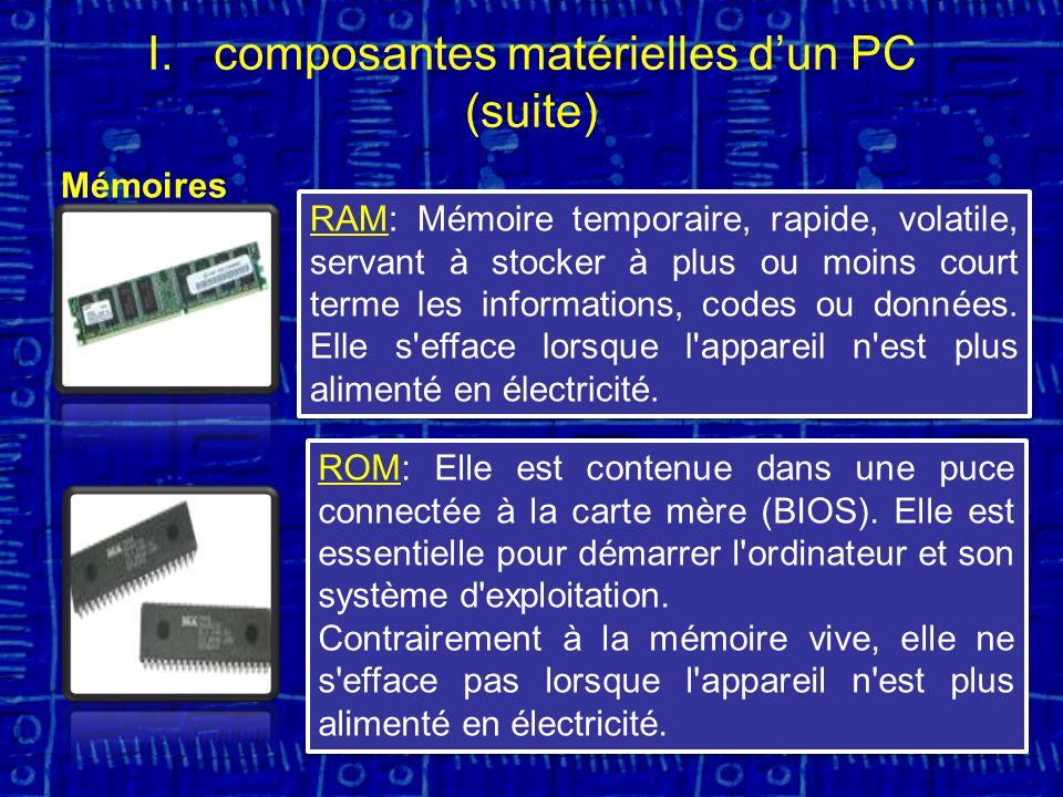 I.composantes matérielles dun PC (suite) Mémoires RAM: Mémoire temporaire, rapide, volatile, servant à stocker à plus ou moins court terme les informations, codes ou données.