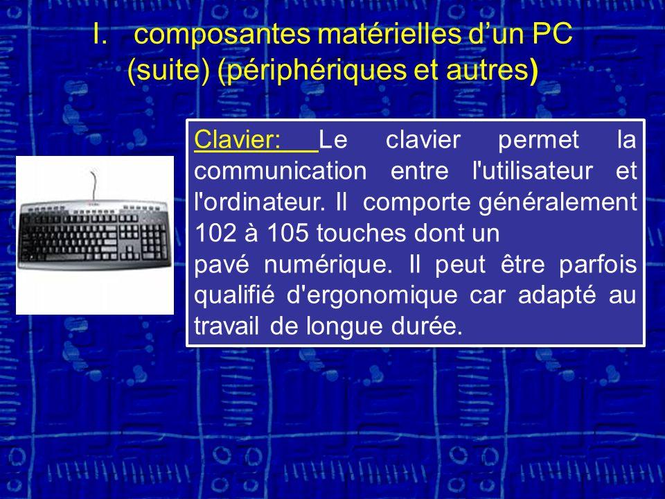 I.composantes matérielles dun PC (suite) (périphériques et autres) Clavier: Le clavier permet la communication entre l utilisateur et l ordinateur.