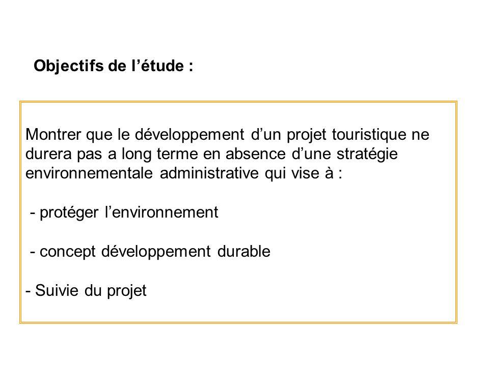 Objectifs de létude : Montrer que le développement dun projet touristique ne durera pas a long terme en absence dune stratégie environnementale admini
