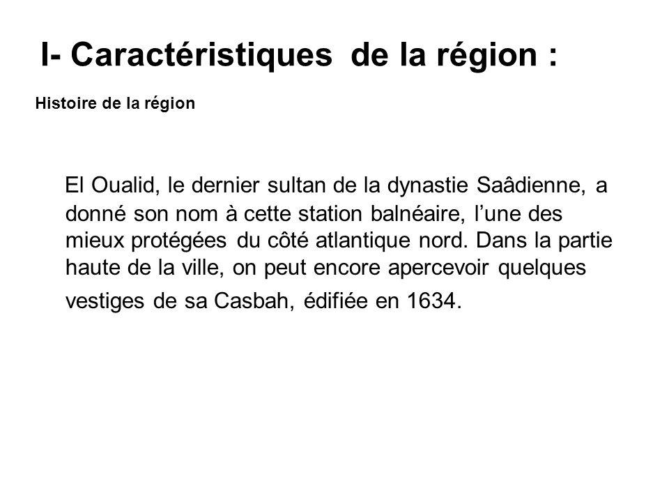 El Oualid, le dernier sultan de la dynastie Saâdienne, a donné son nom à cette station balnéaire, lune des mieux protégées du côté atlantique nord. Da