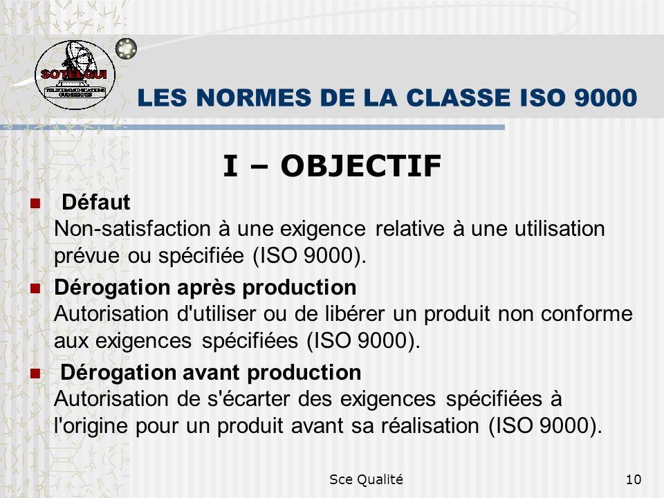 Sce Qualité10 LES NORMES DE LA CLASSE ISO 9000 I – OBJECTIF Défaut Non-satisfaction à une exigence relative à une utilisation prévue ou spécifiée (ISO 9000).