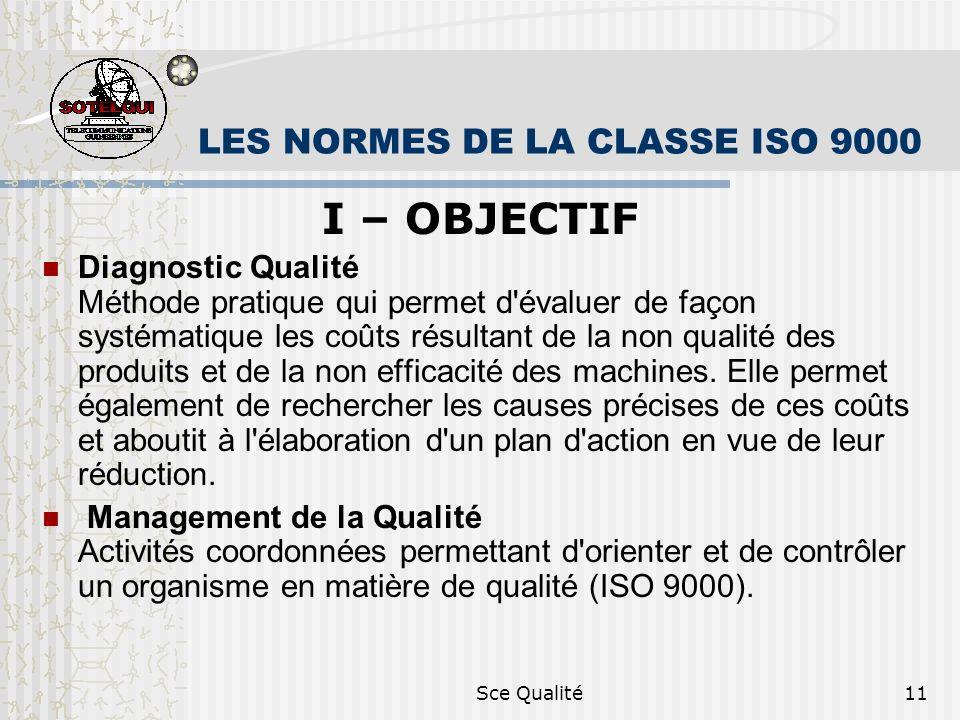 Sce Qualité11 LES NORMES DE LA CLASSE ISO 9000 I – OBJECTIF Diagnostic Qualité Méthode pratique qui permet d évaluer de façon systématique les coûts résultant de la non qualité des produits et de la non efficacité des machines.
