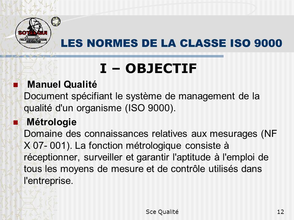 Sce Qualité12 LES NORMES DE LA CLASSE ISO 9000 I – OBJECTIF Manuel Qualité Document spécifiant le système de management de la qualité d un organisme (ISO 9000).