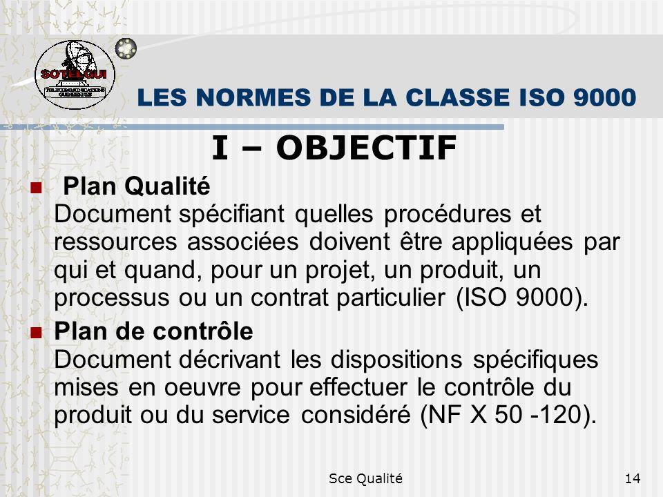 Sce Qualité14 LES NORMES DE LA CLASSE ISO 9000 I – OBJECTIF Plan Qualité Document spécifiant quelles procédures et ressources associées doivent être appliquées par qui et quand, pour un projet, un produit, un processus ou un contrat particulier (ISO 9000).