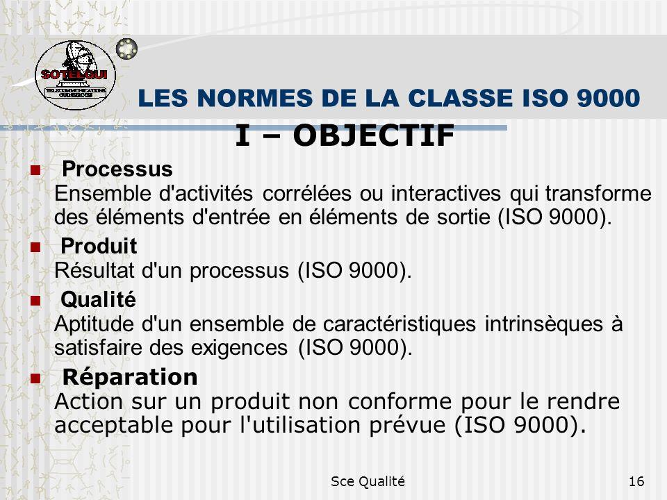 Sce Qualité16 LES NORMES DE LA CLASSE ISO 9000 I – OBJECTIF Processus Ensemble d activités corrélées ou interactives qui transforme des éléments d entrée en éléments de sortie (ISO 9000).