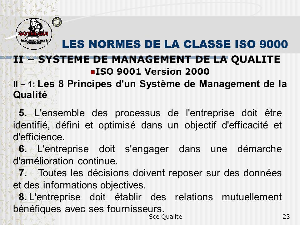 Sce Qualité23 LES NORMES DE LA CLASSE ISO 9000 II – SYSTEME DE MANAGEMENT DE LA QUALITE ISO 9001 Version 2000 II – 1: Les 8 Principes d un Système de Management de la Qualité 5.