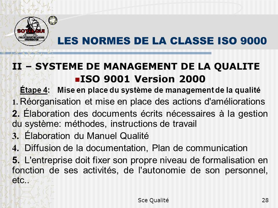 Sce Qualité28 LES NORMES DE LA CLASSE ISO 9000 II – SYSTEME DE MANAGEMENT DE LA QUALITE ISO 9001 Version 2000 Étape 4: Mise en place du système de management de la qualité 1.