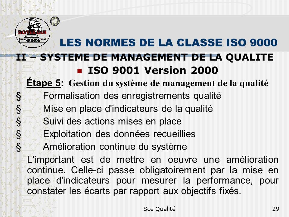 Sce Qualité29 LES NORMES DE LA CLASSE ISO 9000 II – SYSTEME DE MANAGEMENT DE LA QUALITE ISO 9001 Version 2000 Étape 5: Gestion du système de managemen