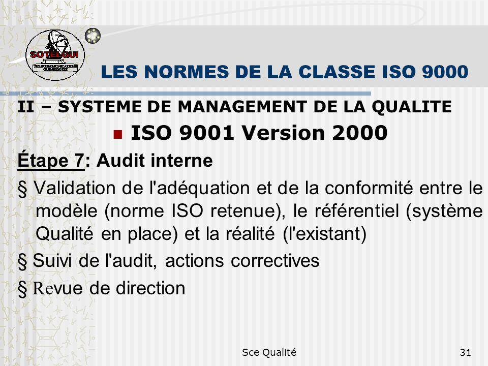 Sce Qualité31 LES NORMES DE LA CLASSE ISO 9000 II – SYSTEME DE MANAGEMENT DE LA QUALITE ISO 9001 Version 2000 Étape 7: Audit interne Validation de l adéquation et de la conformité entre le modèle (norme ISO retenue), le référentiel (système Qualité en place) et la réalité (l existant) Suivi de l audit, actions correctives Re vue de direction