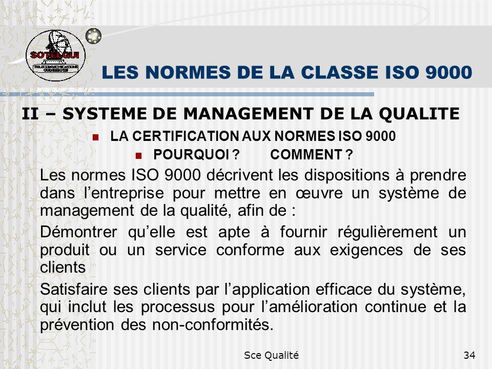 Sce Qualité34 LES NORMES DE LA CLASSE ISO 9000 II – SYSTEME DE MANAGEMENT DE LA QUALITE LA CERTIFICATION AUX NORMES ISO 9000 POURQUOI ? COMMENT ? Les