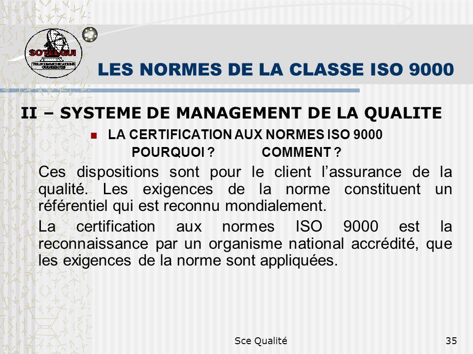 Sce Qualité35 LES NORMES DE LA CLASSE ISO 9000 II – SYSTEME DE MANAGEMENT DE LA QUALITE LA CERTIFICATION AUX NORMES ISO 9000 POURQUOI ? COMMENT ? Ces