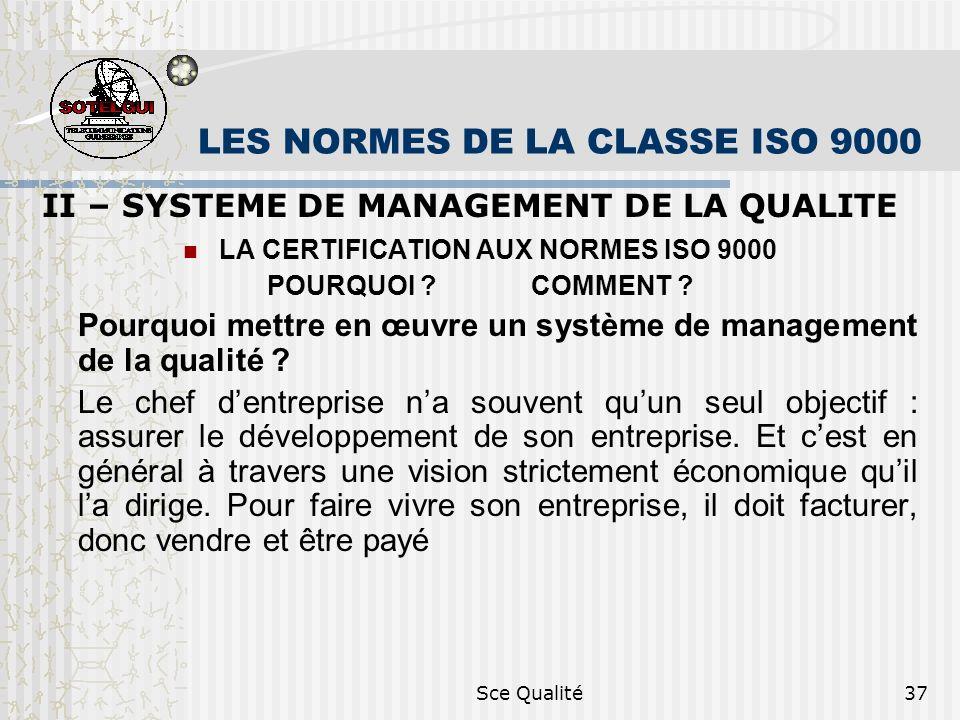 Sce Qualité37 LES NORMES DE LA CLASSE ISO 9000 II – SYSTEME DE MANAGEMENT DE LA QUALITE LA CERTIFICATION AUX NORMES ISO 9000 POURQUOI .