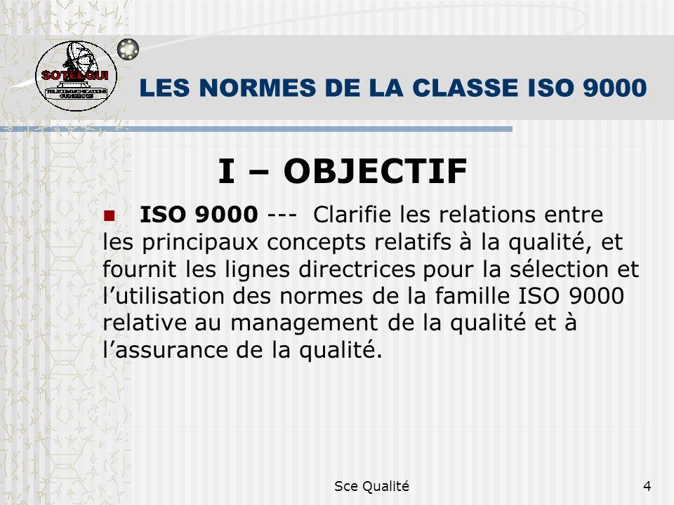Sce Qualité4 LES NORMES DE LA CLASSE ISO 9000 I – OBJECTIF ISO 9000 --- Clarifie les relations entre les principaux concepts relatifs à la qualité, et fournit les lignes directrices pour la sélection et lutilisation des normes de la famille ISO 9000 relative au management de la qualité et à lassurance de la qualité.