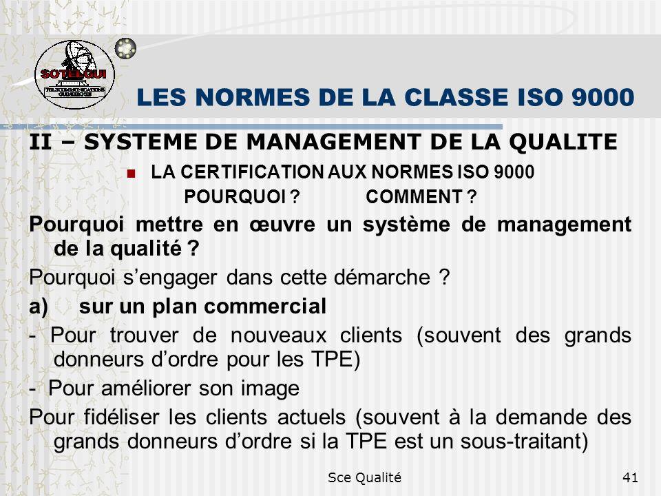Sce Qualité41 LES NORMES DE LA CLASSE ISO 9000 II – SYSTEME DE MANAGEMENT DE LA QUALITE LA CERTIFICATION AUX NORMES ISO 9000 POURQUOI .