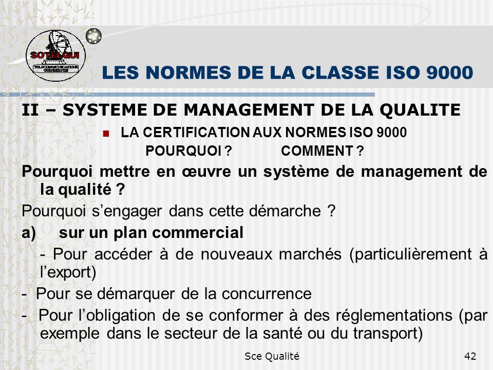 Sce Qualité42 LES NORMES DE LA CLASSE ISO 9000 II – SYSTEME DE MANAGEMENT DE LA QUALITE LA CERTIFICATION AUX NORMES ISO 9000 POURQUOI .