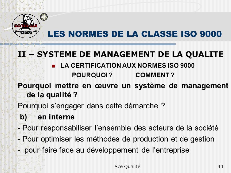Sce Qualité44 LES NORMES DE LA CLASSE ISO 9000 II – SYSTEME DE MANAGEMENT DE LA QUALITE LA CERTIFICATION AUX NORMES ISO 9000 POURQUOI ? COMMENT ? Pour