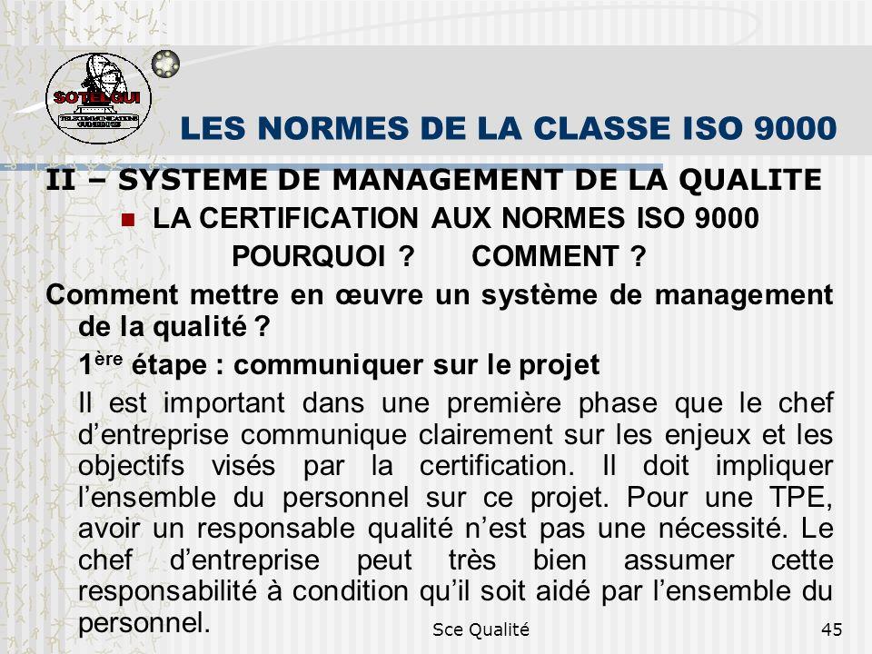 Sce Qualité45 LES NORMES DE LA CLASSE ISO 9000 II – SYSTEME DE MANAGEMENT DE LA QUALITE LA CERTIFICATION AUX NORMES ISO 9000 POURQUOI .