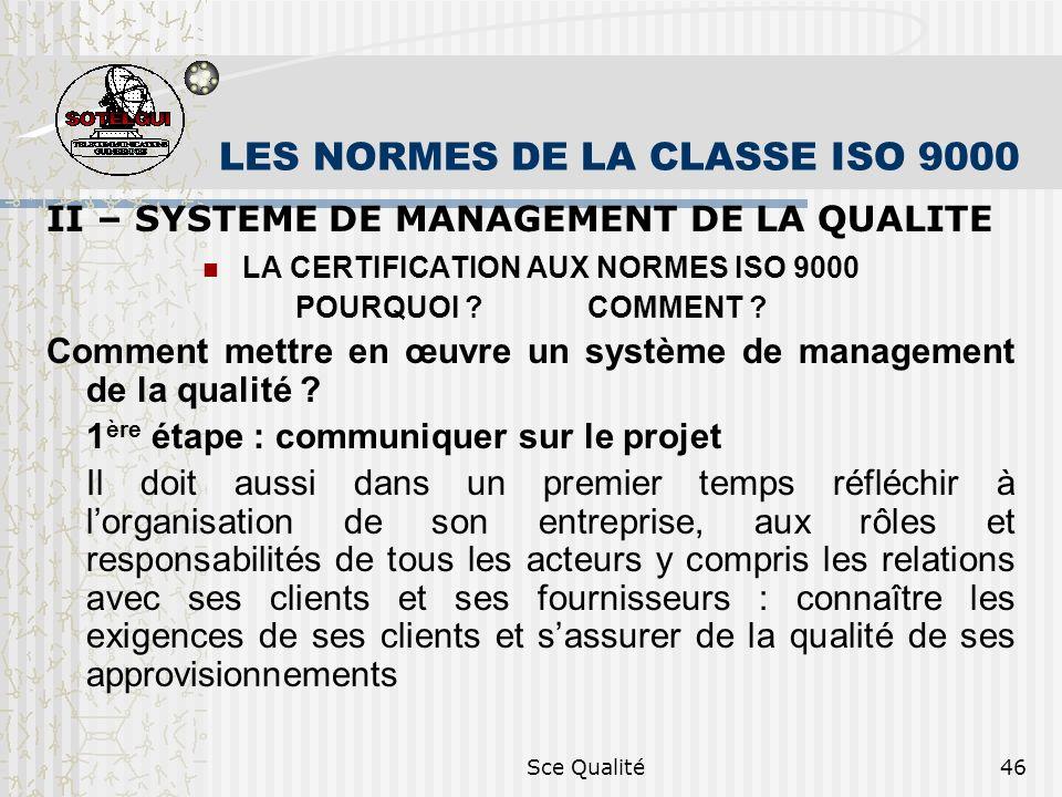 Sce Qualité46 LES NORMES DE LA CLASSE ISO 9000 II – SYSTEME DE MANAGEMENT DE LA QUALITE LA CERTIFICATION AUX NORMES ISO 9000 POURQUOI ? COMMENT ? Comm