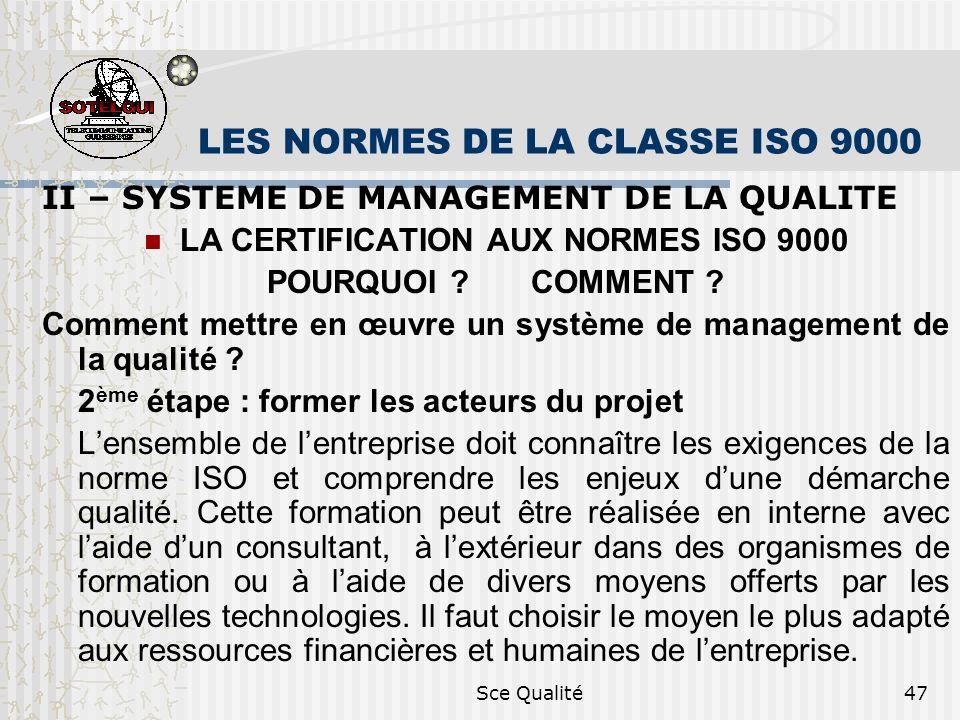 Sce Qualité47 LES NORMES DE LA CLASSE ISO 9000 II – SYSTEME DE MANAGEMENT DE LA QUALITE LA CERTIFICATION AUX NORMES ISO 9000 POURQUOI .
