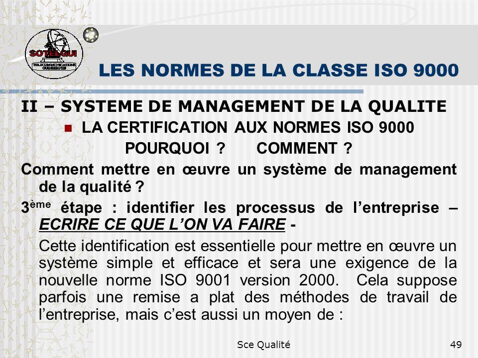 Sce Qualité49 LES NORMES DE LA CLASSE ISO 9000 II – SYSTEME DE MANAGEMENT DE LA QUALITE LA CERTIFICATION AUX NORMES ISO 9000 POURQUOI ? COMMENT ? Comm
