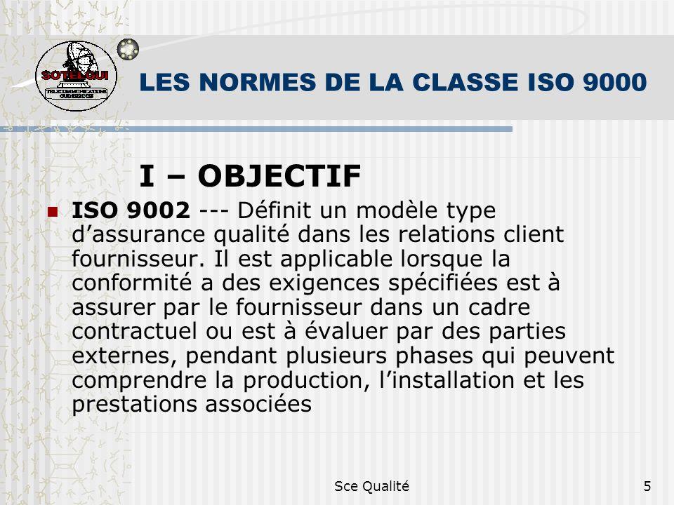 Sce Qualité5 LES NORMES DE LA CLASSE ISO 9000 I – OBJECTIF ISO 9002 --- Définit un modèle type dassurance qualité dans les relations client fournisseur.