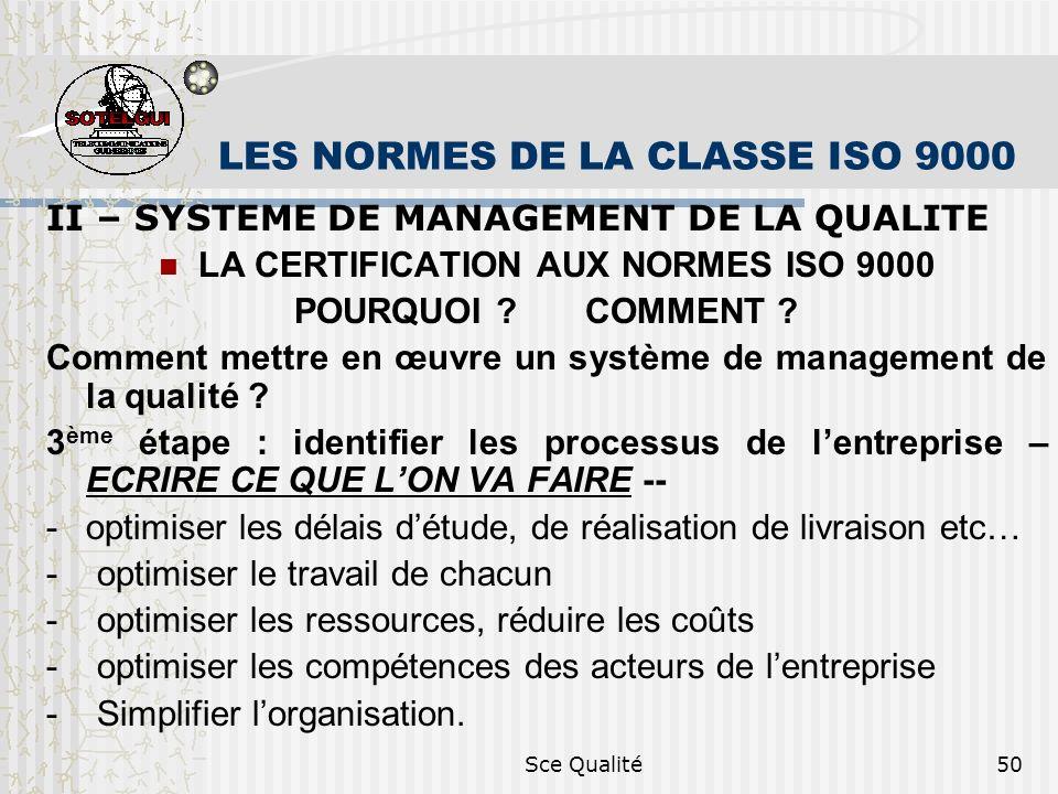 Sce Qualité50 LES NORMES DE LA CLASSE ISO 9000 II – SYSTEME DE MANAGEMENT DE LA QUALITE LA CERTIFICATION AUX NORMES ISO 9000 POURQUOI ? COMMENT ? Comm