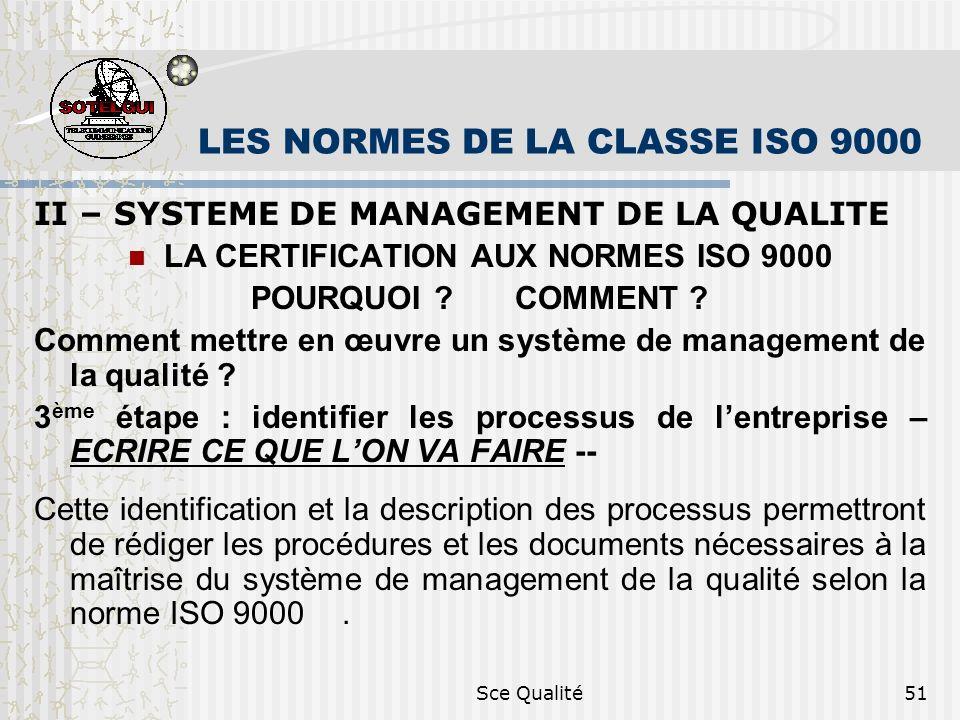 Sce Qualité51 LES NORMES DE LA CLASSE ISO 9000 II – SYSTEME DE MANAGEMENT DE LA QUALITE LA CERTIFICATION AUX NORMES ISO 9000 POURQUOI ? COMMENT ? Comm