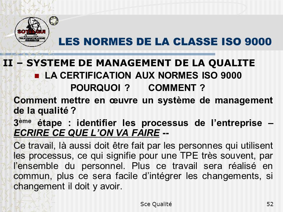 Sce Qualité52 LES NORMES DE LA CLASSE ISO 9000 II – SYSTEME DE MANAGEMENT DE LA QUALITE LA CERTIFICATION AUX NORMES ISO 9000 POURQUOI .