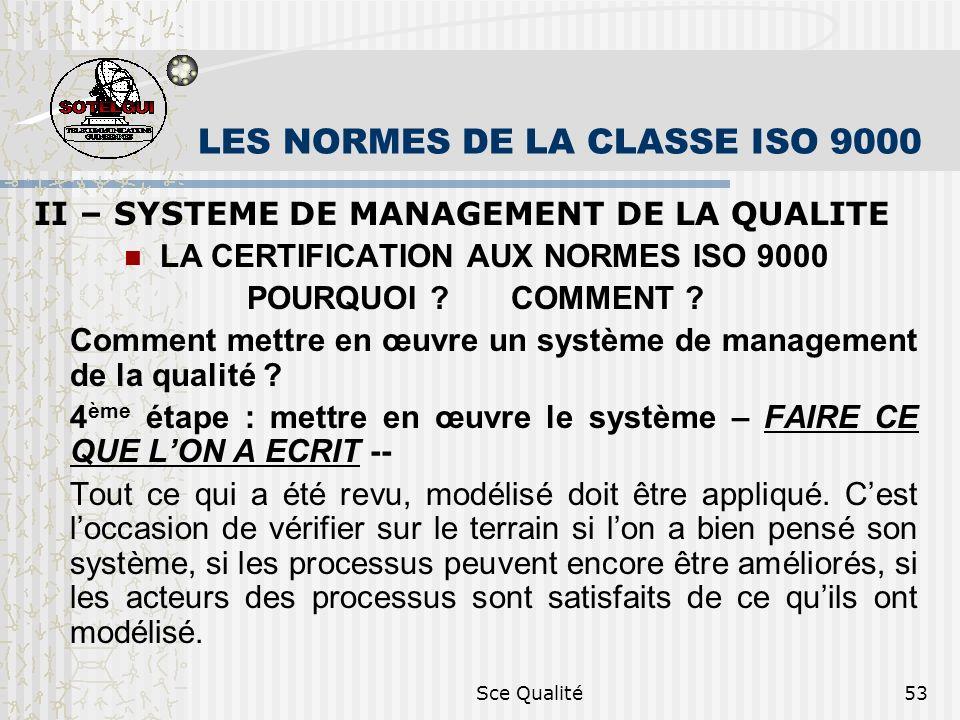 Sce Qualité53 LES NORMES DE LA CLASSE ISO 9000 II – SYSTEME DE MANAGEMENT DE LA QUALITE LA CERTIFICATION AUX NORMES ISO 9000 POURQUOI ? COMMENT ? Comm