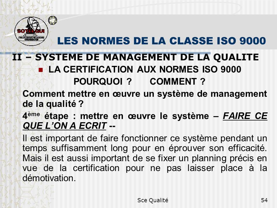 Sce Qualité54 LES NORMES DE LA CLASSE ISO 9000 II – SYSTEME DE MANAGEMENT DE LA QUALITE LA CERTIFICATION AUX NORMES ISO 9000 POURQUOI .