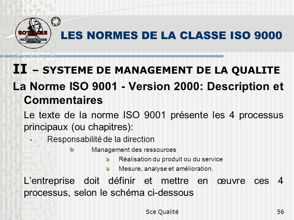 Sce Qualité56 LES NORMES DE LA CLASSE ISO 9000 II – SYSTEME DE MANAGEMENT DE LA QUALITE La Norme ISO 9001 - Version 2000: Description et Commentaires
