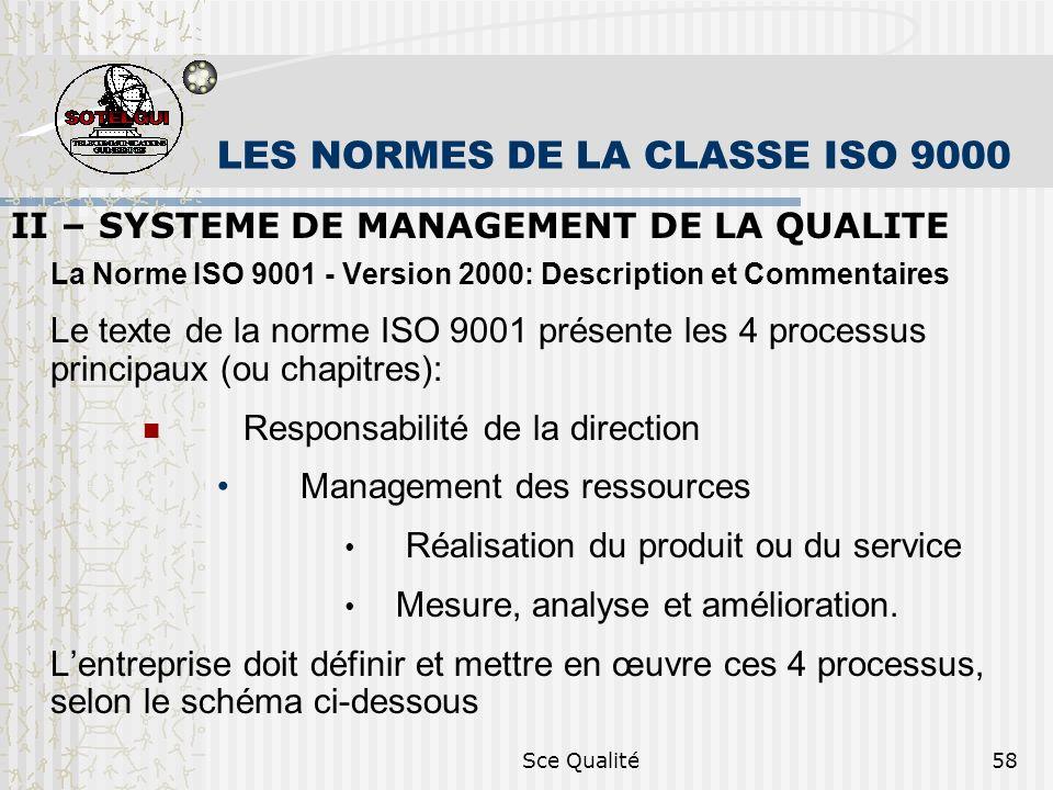 Sce Qualité58 LES NORMES DE LA CLASSE ISO 9000 II – SYSTEME DE MANAGEMENT DE LA QUALITE La Norme ISO 9001 - Version 2000: Description et Commentaires