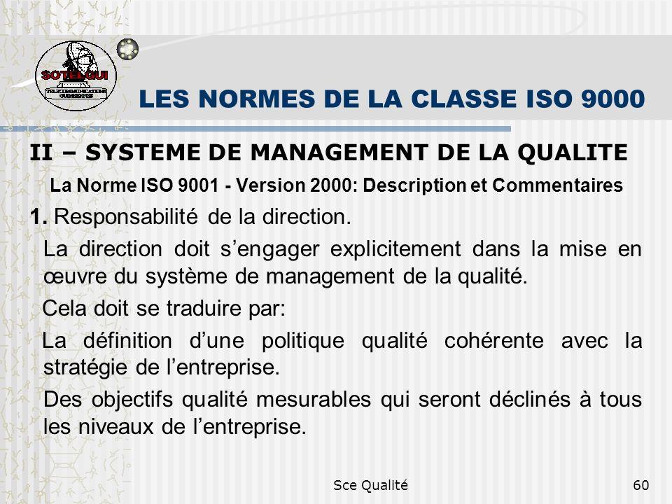 Sce Qualité60 LES NORMES DE LA CLASSE ISO 9000 II – SYSTEME DE MANAGEMENT DE LA QUALITE La Norme ISO 9001 - Version 2000: Description et Commentaires 1.