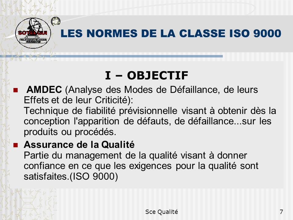 Sce Qualité7 LES NORMES DE LA CLASSE ISO 9000 I – OBJECTIF AMDEC (Analyse des Modes de Défaillance, de leurs Effets et de leur Criticité): Technique d