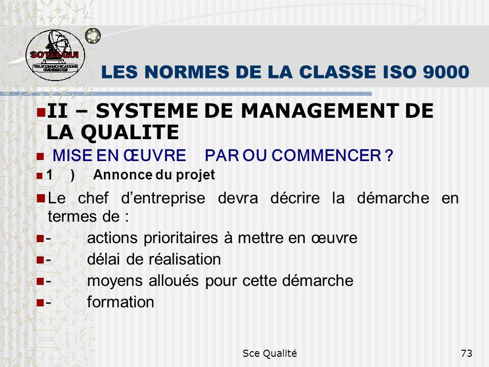 Sce Qualité73 LES NORMES DE LA CLASSE ISO 9000 II – SYSTEME DE MANAGEMENT DE LA QUALITE MISE EN ŒUVRE PAR OU COMMENCER ? 1) Annonce du projet Le chef