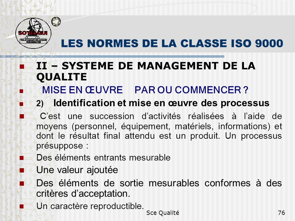 Sce Qualité76 LES NORMES DE LA CLASSE ISO 9000 II – SYSTEME DE MANAGEMENT DE LA QUALITE MISE EN ŒUVRE PAR OU COMMENCER ? 2) Identification et mise en