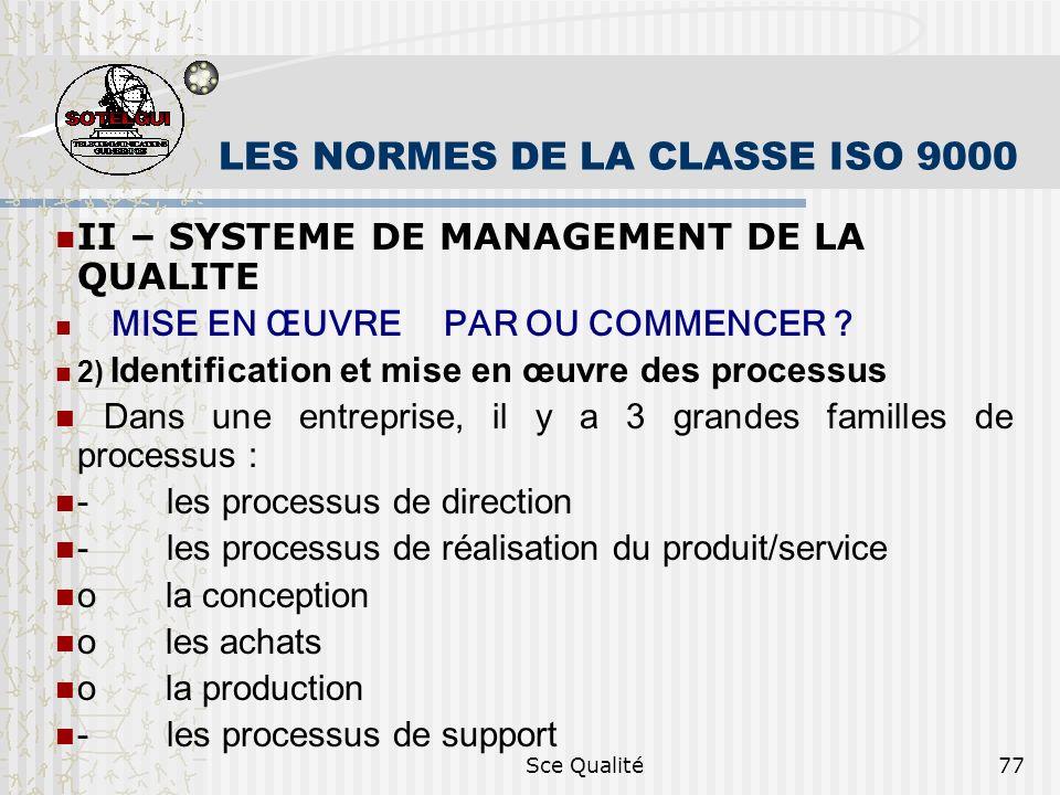 Sce Qualité77 LES NORMES DE LA CLASSE ISO 9000 II – SYSTEME DE MANAGEMENT DE LA QUALITE MISE EN ŒUVRE PAR OU COMMENCER ? 2) Identification et mise en
