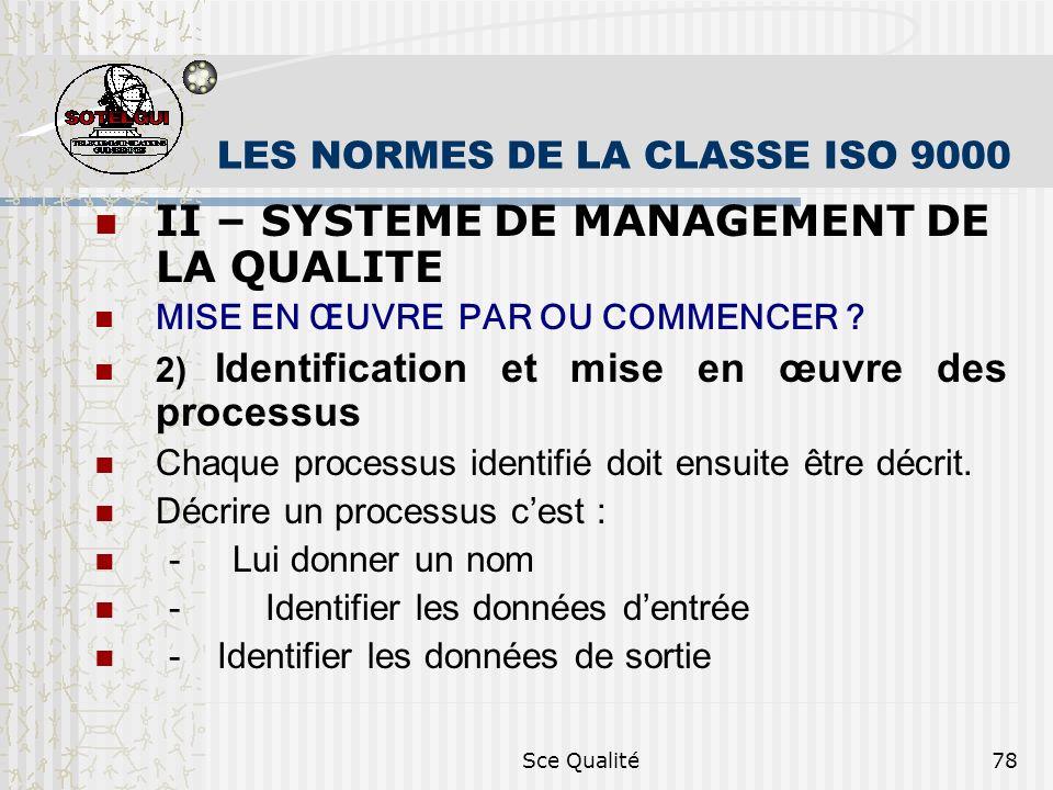 Sce Qualité78 LES NORMES DE LA CLASSE ISO 9000 II – SYSTEME DE MANAGEMENT DE LA QUALITE MISE EN ŒUVRE PAR OU COMMENCER ? 2) Identification et mise en