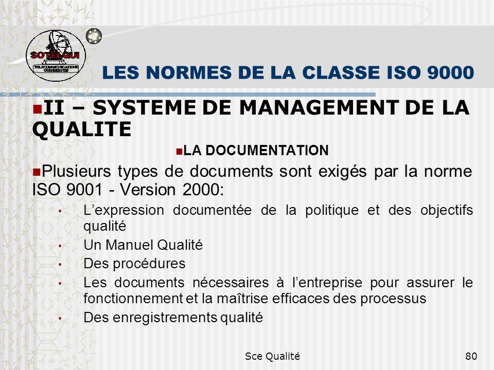 Sce Qualité80 LES NORMES DE LA CLASSE ISO 9000 II – SYSTEME DE MANAGEMENT DE LA QUALITE LA DOCUMENTATION Plusieurs types de documents sont exigés par