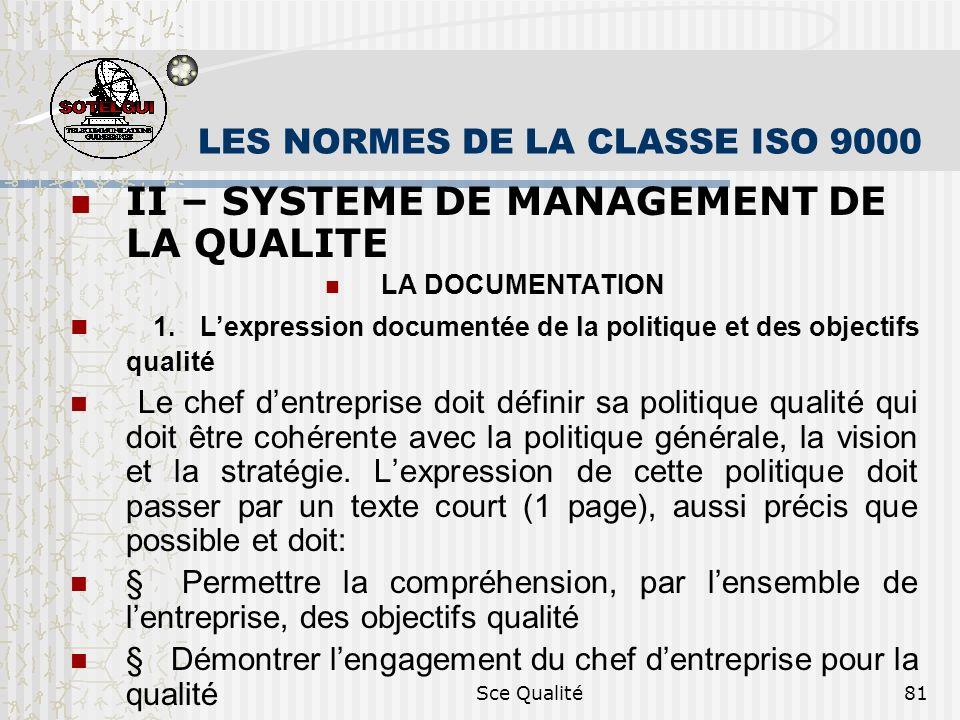 Sce Qualité81 LES NORMES DE LA CLASSE ISO 9000 II – SYSTEME DE MANAGEMENT DE LA QUALITE LA DOCUMENTATION 1. Lexpression documentée de la politique et