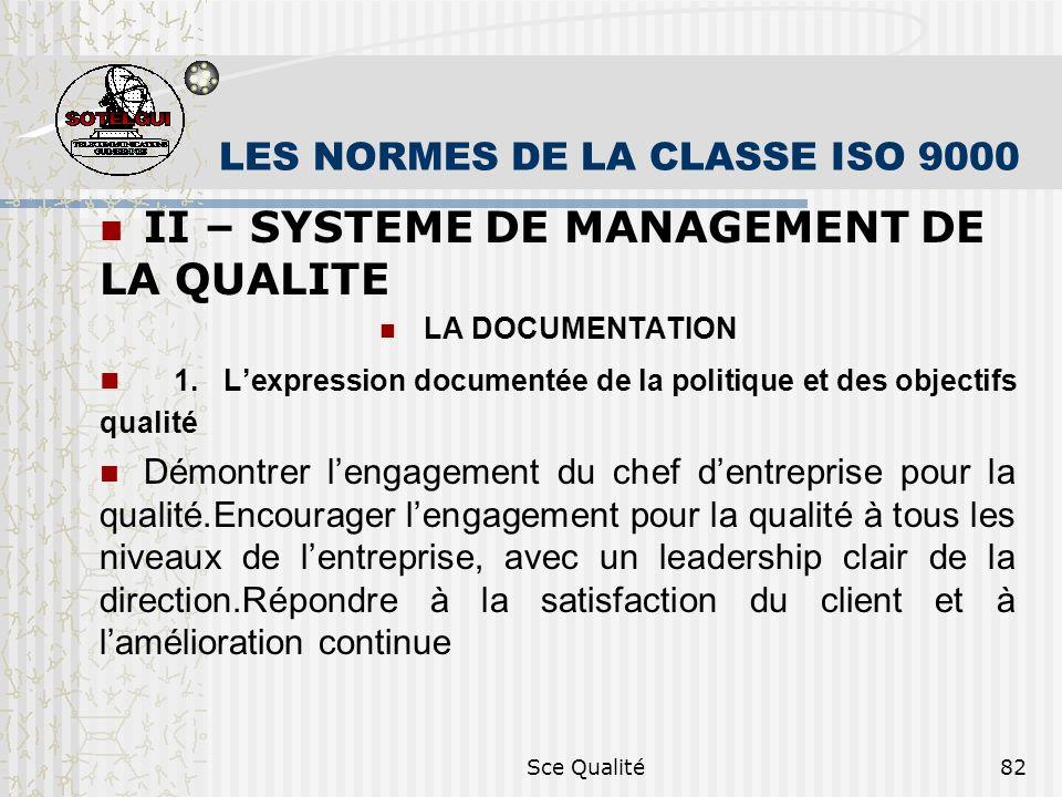 Sce Qualité82 LES NORMES DE LA CLASSE ISO 9000 II – SYSTEME DE MANAGEMENT DE LA QUALITE LA DOCUMENTATION 1. Lexpression documentée de la politique et