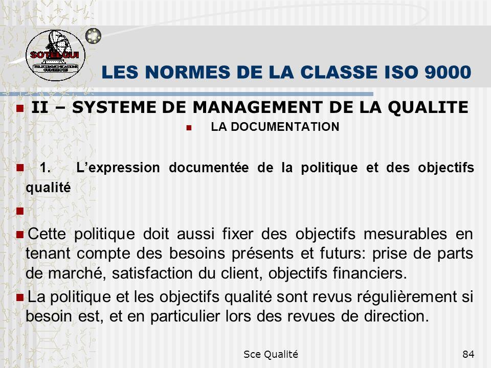 Sce Qualité84 LES NORMES DE LA CLASSE ISO 9000 II – SYSTEME DE MANAGEMENT DE LA QUALITE LA DOCUMENTATION 1. Lexpression documentée de la politique et